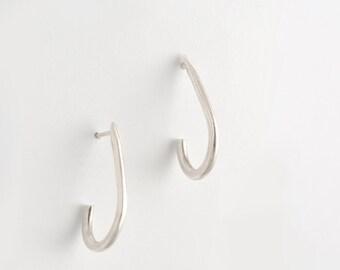 Silver earrings, silver drop earrings, minimalist earrings, urban earrings, silver post earrings, handmade sterling silver earrings