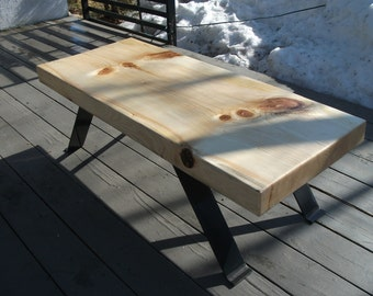 "SOLD OUT 16-23 new style! Table in pine 3 ""thick steel bracket"