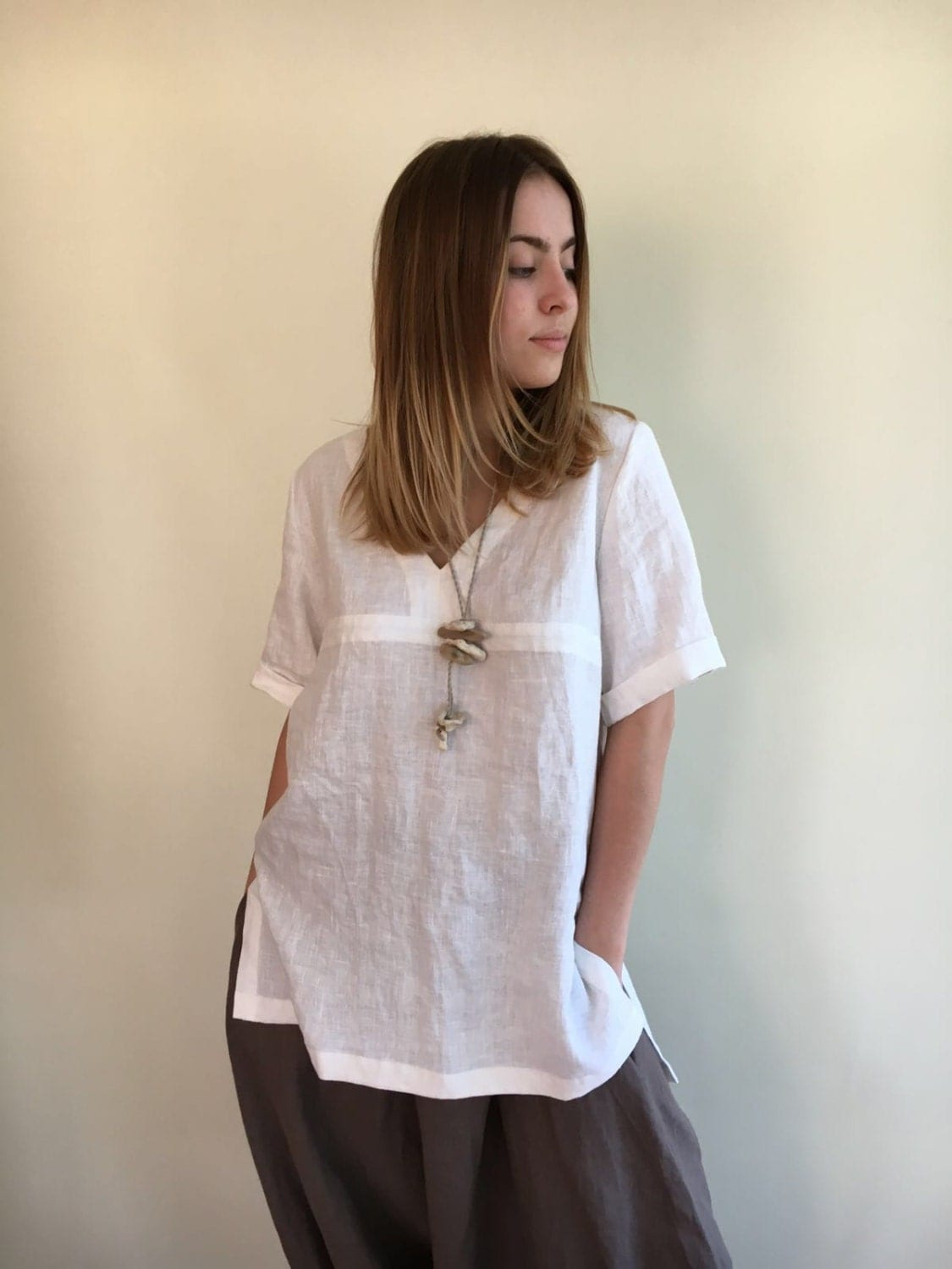 Long Linen Shirt Beach Shirt Loose Linen Shirt White Linen
