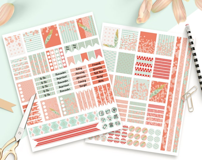 PLANNER STICKER Sheets Coral Peach & Mint Feathers With Confetti Printable Digital Stickers DIY Erin Condren Life Planner social media Icons