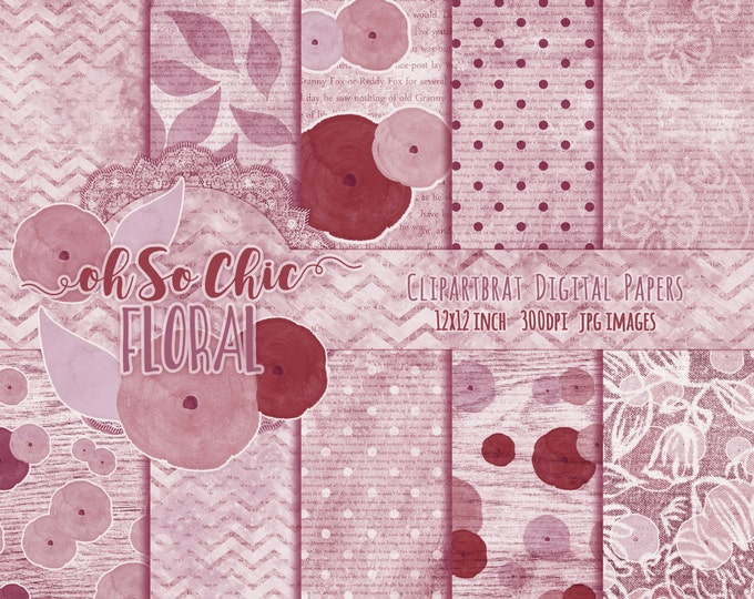 WATERCOLOR ROSES FLORAL Digital Paper Pack Commercial Use Backgrounds Mauve & Wine Digital Paper Chevron Shabby Chic Wood Lace Digital Paper