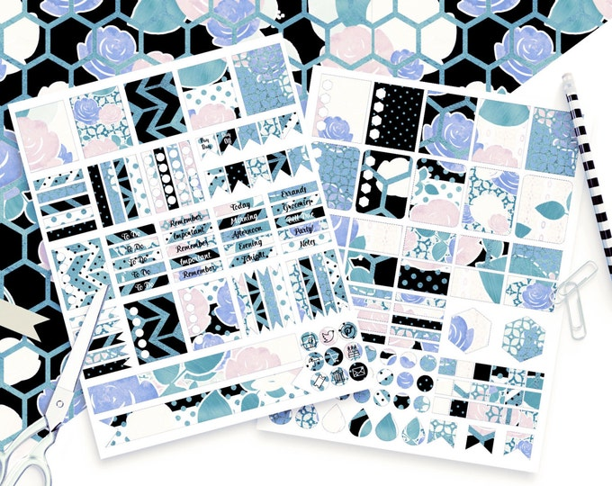 BLUSH & BLUE Digital Sticker Sheets Black White Aqua Metallic Flower Stripe Stickers Roses Printable Planner Stickers Erin Condren Stickers