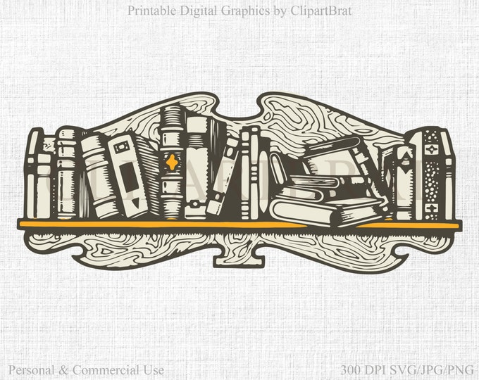 BOOKS CLIPART Commercial Use Clipart Book Shelf Clipart Digital Stamp Vintage Books Fabric Transfer Clipart Vector Graphic Jpg/Png/Svg