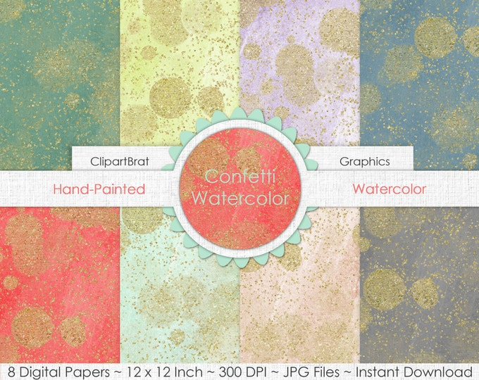 GOLD FAIRY DUST Watercolor Digital Paper Pack Commercial Use Digital Background Gold Confetti Digital Paper Coral Blush Mint Gray Paper Pack