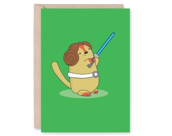Princess Leia Cat Card // Star Wars Cats Card // Cats Dressed in Star Wars Costume // Birthday Card // Greeting Card // Anniversary Card
