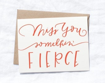 Greeting cards, miss you, gifts for her, stationery for her, Southern sayings, handlettered notes, Southern charm, somethin' fierce