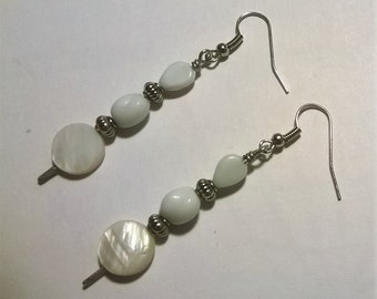White Stacked Bead Dangle