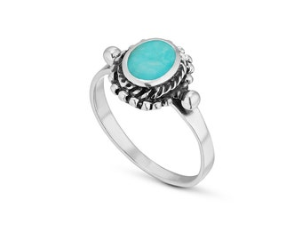 Turquoise Ring 925 Sterling Silver, Double Framed Turquoise Ring, Solitaire Oval Ring, Turquoise Ring Vintage, Blue Silver Ring