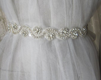 Rhinestones Wedding belt sash, bridal belt