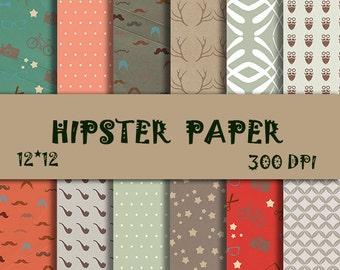 Hipster paper pack Antler Digital Paper Mustache Papers Hipster digital paper Fashionable Scrapbook Paper Hipster Scrapbook Paper