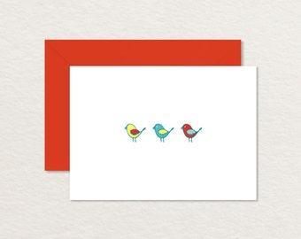 Printable Note Card / Bird Thank You Card / Bird Stationery / Three Birds 4 Bar