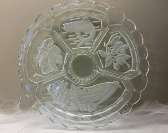 DECORATIVE CLEAR and FROSTED Vintage Divided Appetizer / Relish Serving Tray with Scalloped Edge Circa 1950's