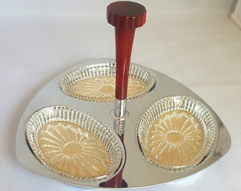 Glo Hill Vintage 1960's Chrome and Presssed Glass Relish/Pickle/Olive Serving Dish~Mid Century~Bakelite Handle