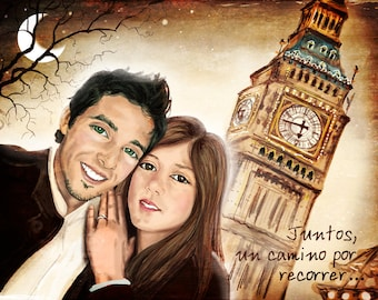 Portrait couple + custom background