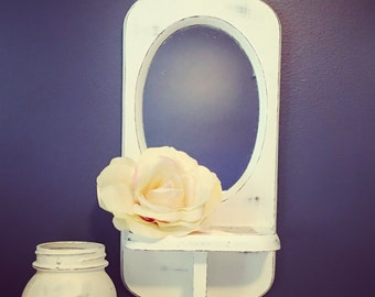 Vintage white shabby chic mirror shelf- refurbished