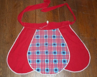 Vintage Red Apron with Plaid Center