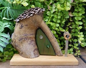 Woodland Fairy House or Gnome Home with Moss Green Door, Mail Box and Pine Cone Shingle Roof