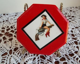 Up-Cycled Pin Up Girl Vintage Trinket Box