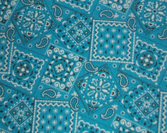 "Bandana Fat Quarter 100% Cotton Fabric 18"" x 22"" - Turquoise # 32"