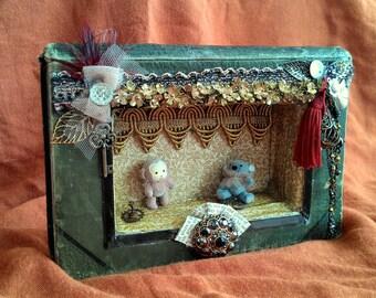 Art antique altered book theatre diorama handmade decor collectible