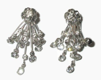 Flower Earrings, Vintage  Crystal Clips, MARVELLA,  Signed Mid Century Jewelry, 1950s-1960s, Silver Tone, Drop, Bridal, Wedding