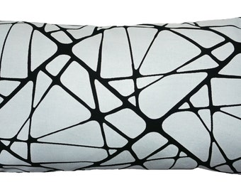 Geometric black and white screen printed modern Long Throw Pillow