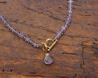 Lavender Amethyst Necklace with 14K gold filled Clasp and Amethyst Drop