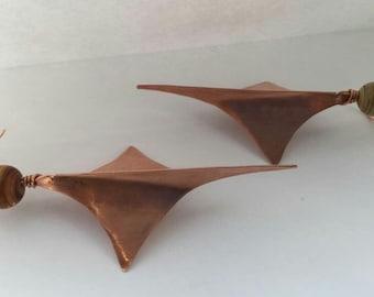 Copper diamond shaped earrings