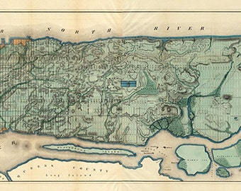 "Map of the City of New York, Manhattan 1865.  Vintage reproduction Sanitary & Topographical Viele Map"". Egbert Ludovicus Viele. Varies sizes"