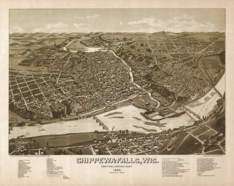 Chippewa-Falls, County of Chippewa, Wisconsin, WI 1872.  Restoration Hardware Home Deco Style Old Wall Map. Vintage Reproduction.