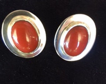 Red Jasper and Sterling Silver Earrings