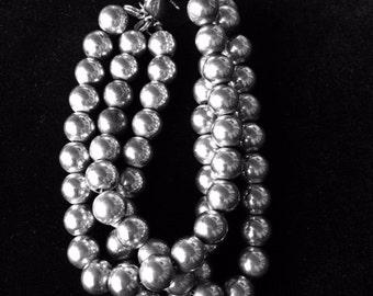 Three strand, 8 mm sterling silver bead bracelet