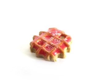 Pink Dipped Waffle - Choose your attachment! polymer clay charms, jewelry, keychains