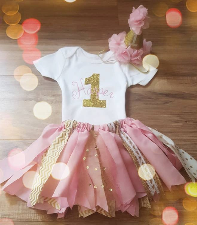First Birthday Outfit Girl.Birthday Outfit.Pink And Gold First