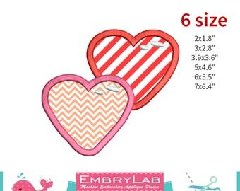 Machine Embroidery Applique Design Valentins Interlocking Hearts  (16092)