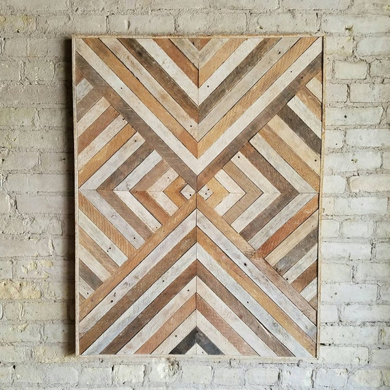 Reclaimed Wood Wall Art, Wood Wall Decor, Twin Headboard, Geometric Pattern, 40x30