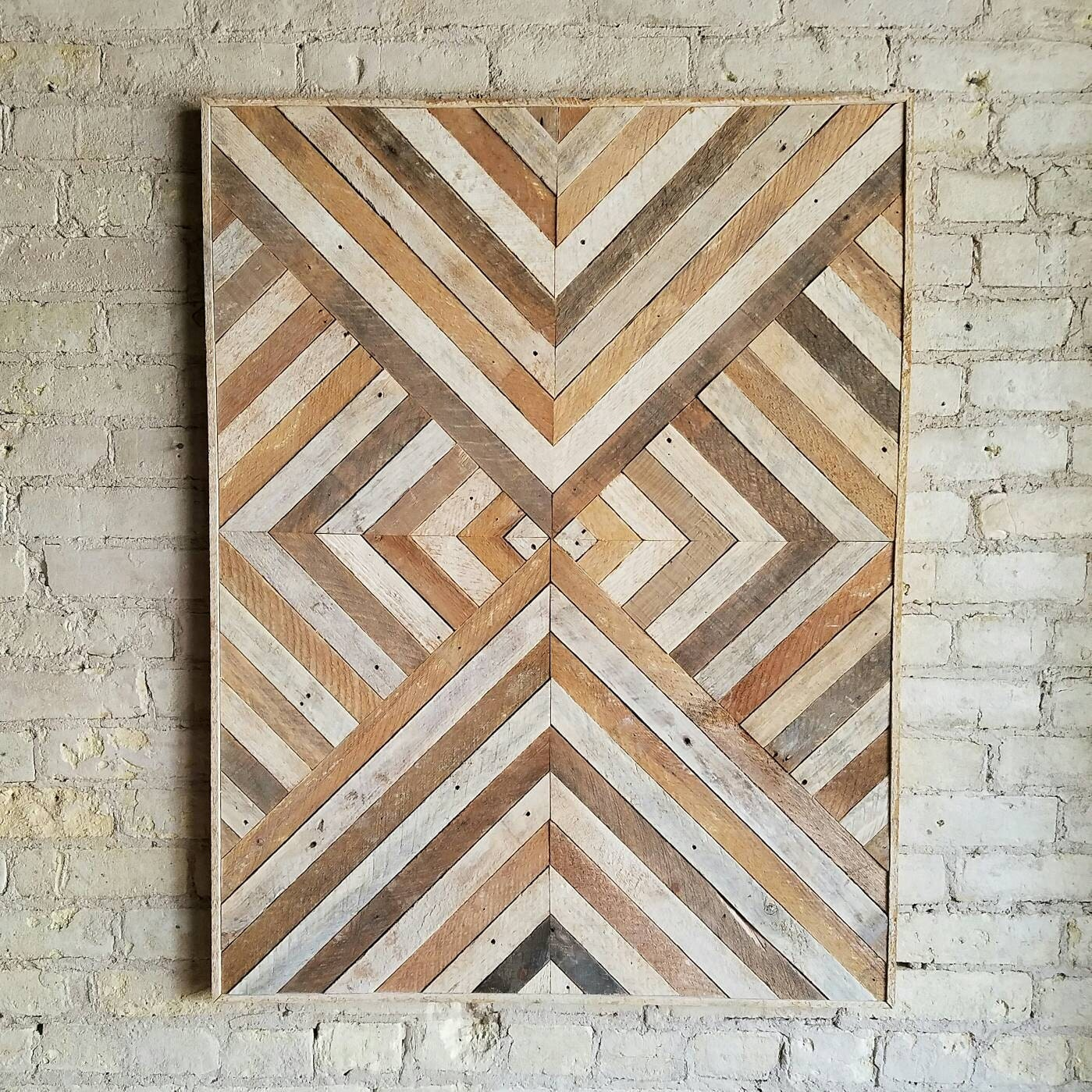 Reclaimed wood wall art wood wall decor twin headboard Painting geometric patterns on walls