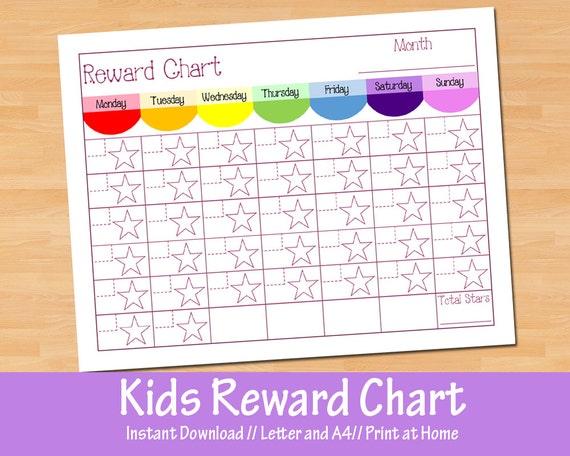 Calendar Chart For Kids : Kids reward chart childrens calendar instant download