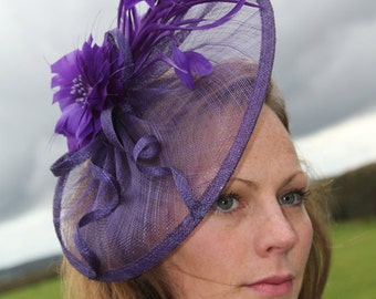 Cadbury purple fascinator. headpiece, hat, hatinator, Wedding, Races, Derby