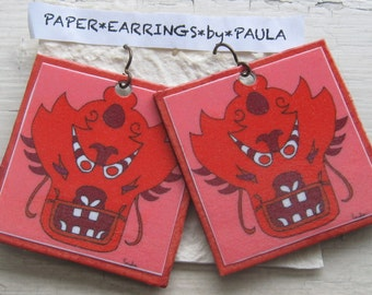 chinese mask paper earring by paula