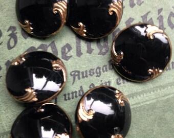 6 black old collector / glass buttons - hangemahltes Golden Art Nouveau pattern (094)