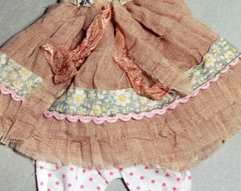 Ppinky's Blythe,Ppinkydolls,Azone body, 2 pieces,vintage fabric outfit set,dress and a cotton polka dot pant