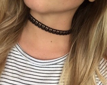 Lace Choker, Wrap Necklace, Beaded Wrap Necklace, Choker Necklace