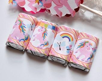 54 Unicorn Hershey Mini Bar Stickers, Unicorn Party Favor, Unicorn 1st Birthday Party Favors, Unicorn Party Supplies, Unicorn Baby Shower