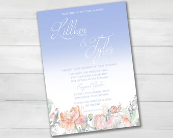 Floral Watercolor Garden Wedding Invitation