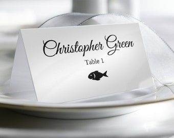 Wedding Place Card Template with Food Options, Printable Place Card, Escort Cards, Instant DOWNLOAD, Folding Tent Style