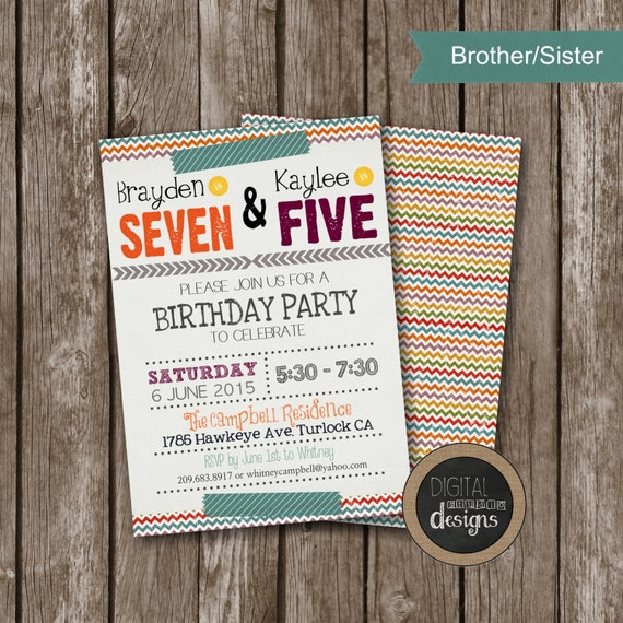 Printable Joint Birthday Party Invitations ~ Sibling birthday invitations joint by digitalstudiodesigns