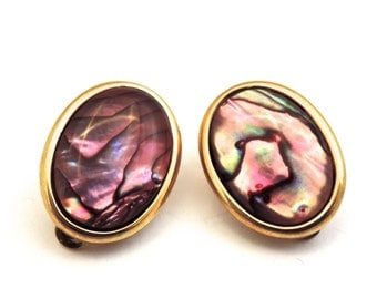 Pink Albalone Earrings, Rainbow Pink, Shell, Clip On Earrings