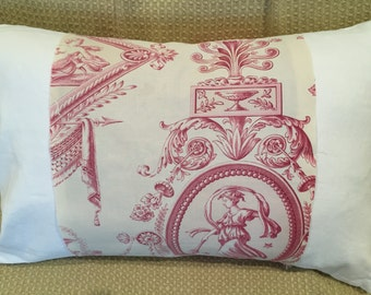 Antique French Toile Pillow, 19th Century Toile de Jouy Fabric Home Decor French Country Shabby Chic Decorative Throw Pillows Repurposed