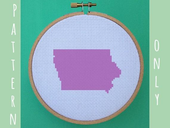 Iowa cross stitch pattern united states